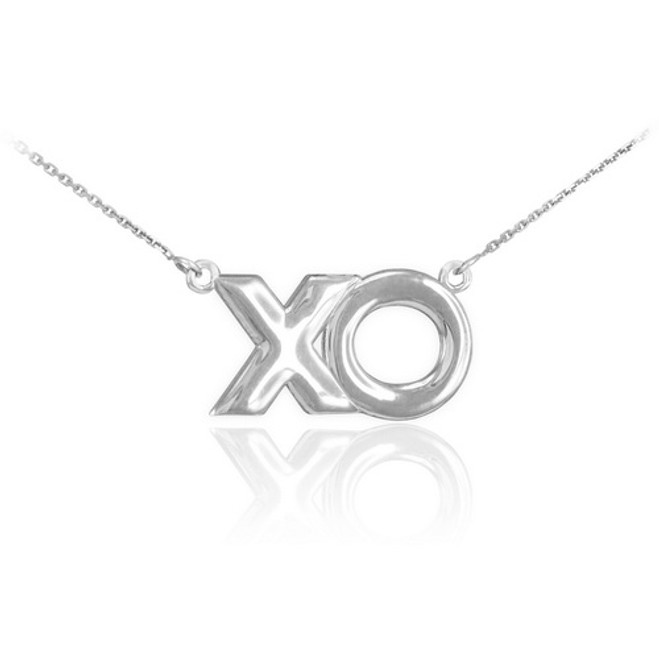 "14K White Gold ""XO"" Hugs & Kisses Necklace"