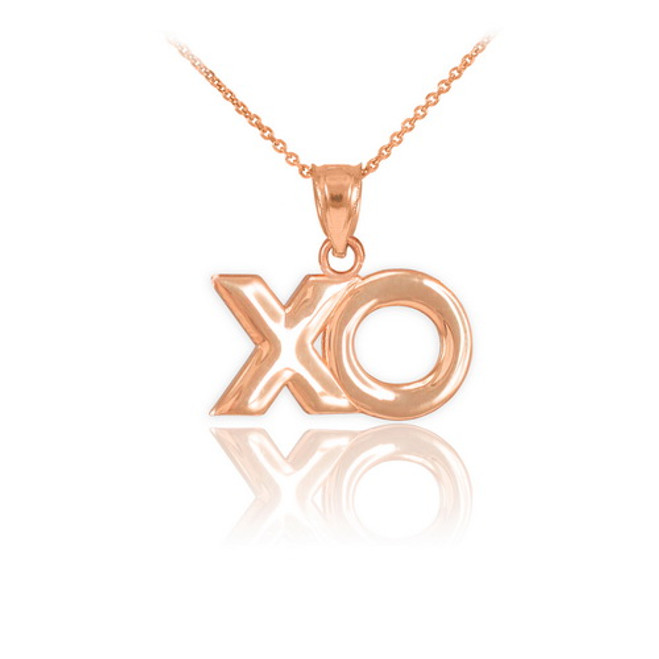 "Rose Gold ""XO"" Hugs & Kisses Pendant Necklace"