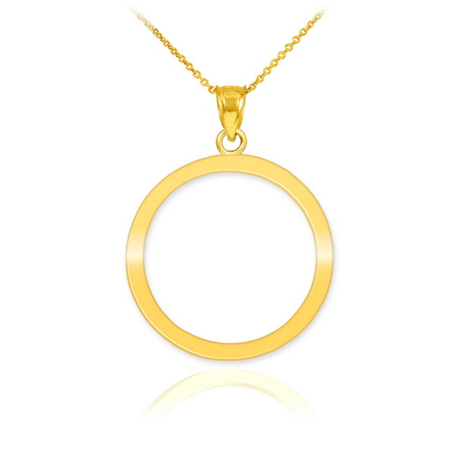Polished Gold Circle Of Life Karma Pendant Necklace