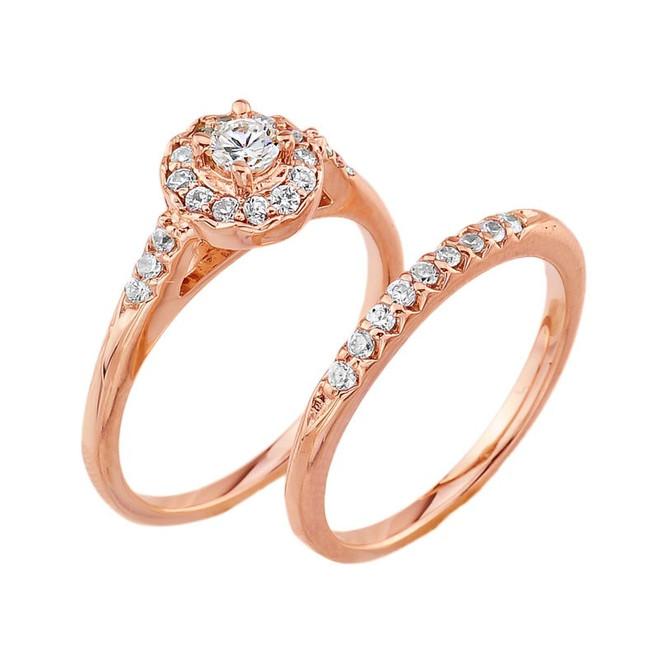 Rose Gold Diamond Halo Wedding Engagement Ring Set