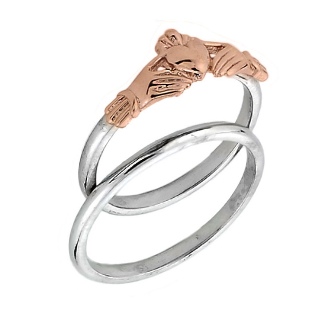 Two Tone Gold Claddagh Engagemet Ring Set