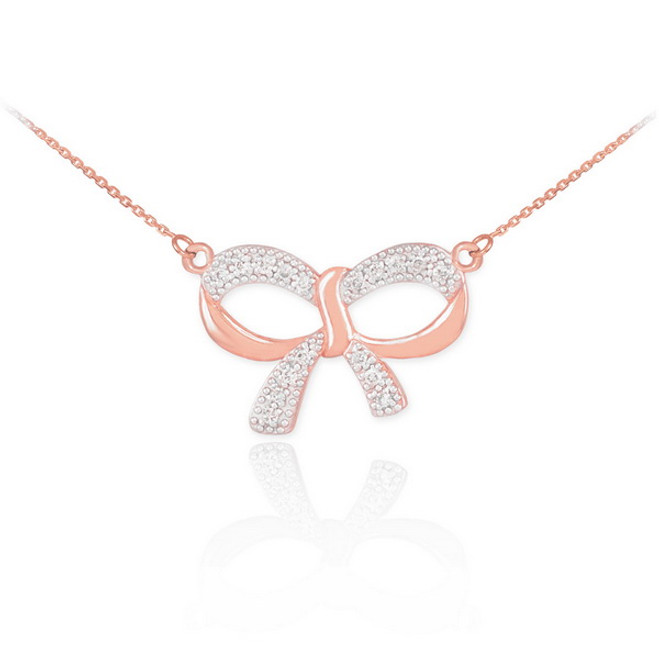 14K Polished Rose Gold Diamond Bow Necklace