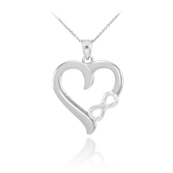 White Gold Infinity Heart Diamond Pendant Necklace