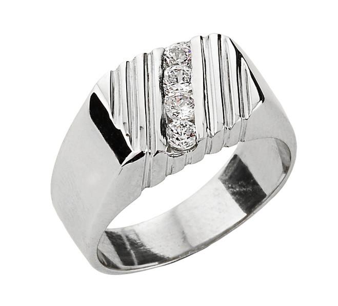 White Gold Men's Diamond Channel Ring