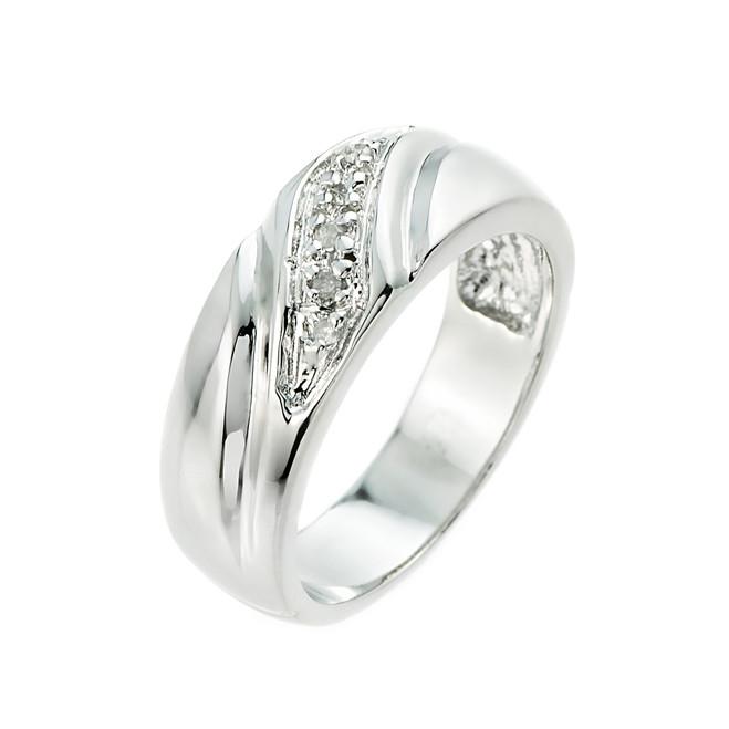 Men's Silver Diamond Wedding Band