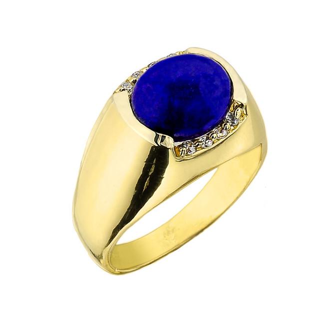 Men's Gold Lapis Gemstone Ring
