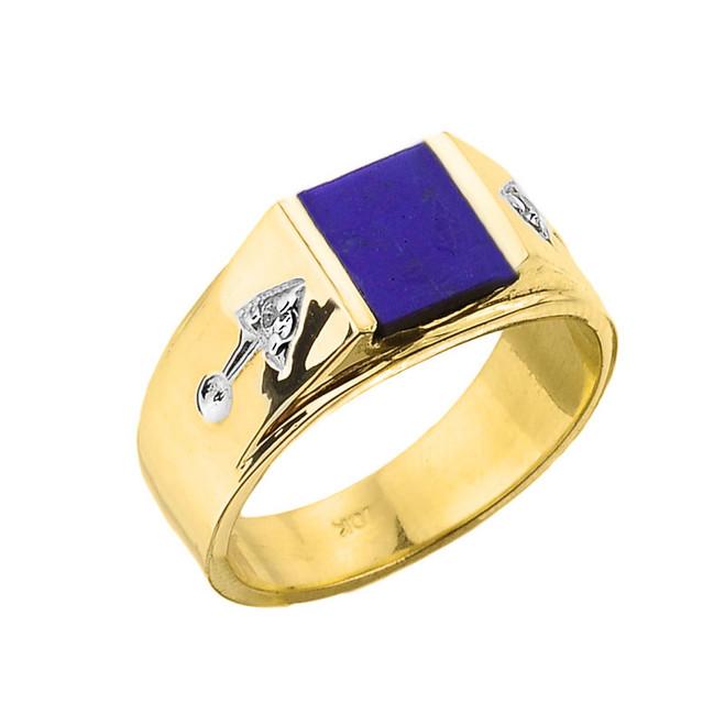 Men's Yellow Gold Lapis Ring