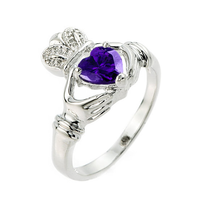 925 Sterling Silver Amethyst Claddagh Ring