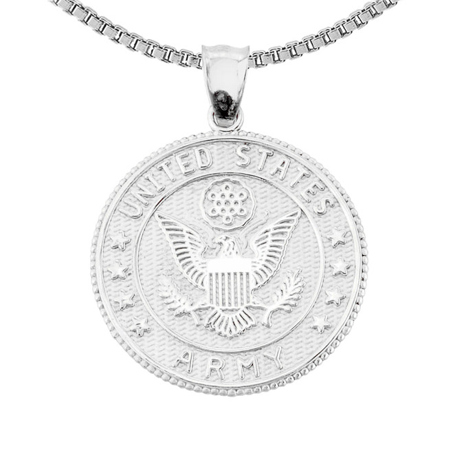 Sterling Silver US Army  Coin Pendant