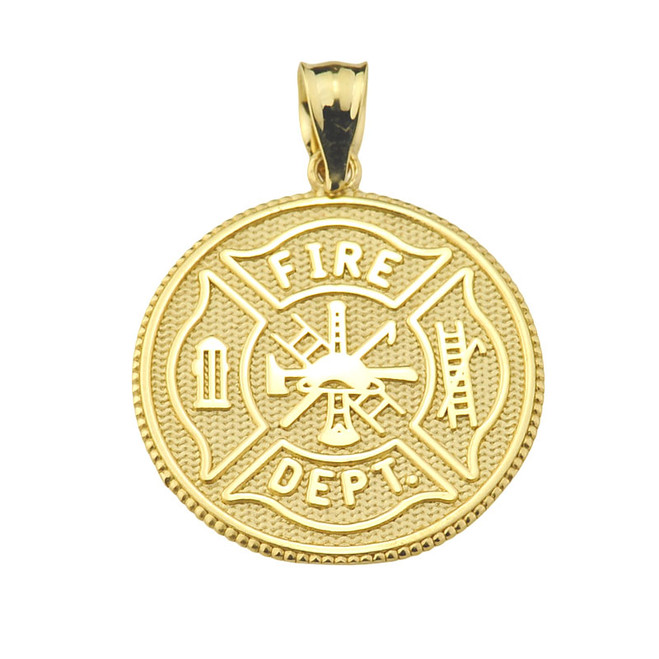 Solid Gold US Firefighter Maltese Cross Pendant