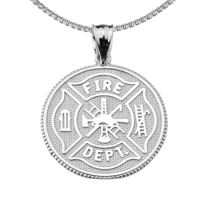 Firefighter Maltese Cross Pendant Necklace With Prayer Blessing in Sterling Silver
