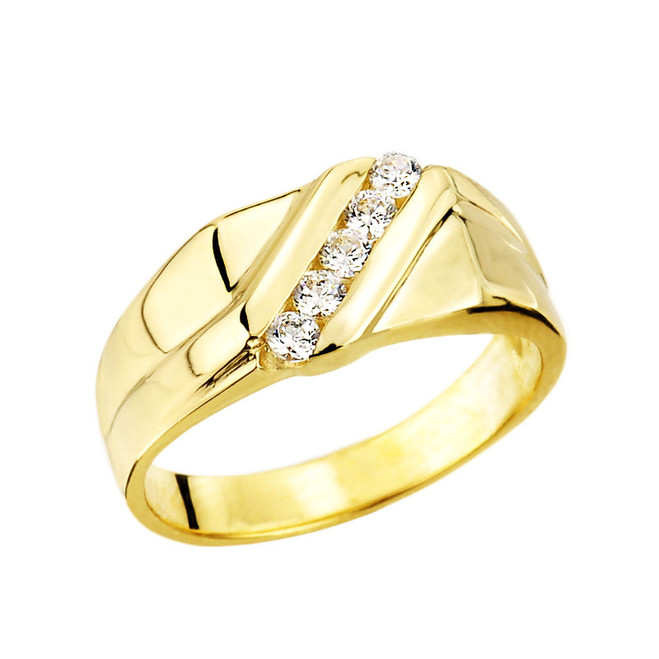 Gold Channel Set Men's Diamond Ring