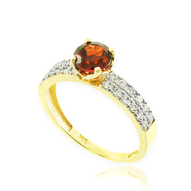 Garnet Gemstone Gold Diamond Pave Engagement Ring