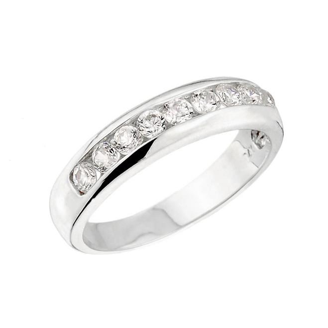 White Gold Unisex Diamond Anniversary Wedding Ring