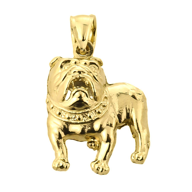 Solid Yellow Gold Bulldog Pendant