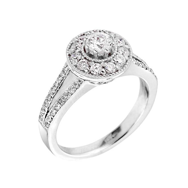 White Gold Halo Diamond Engagement Proposal Ring