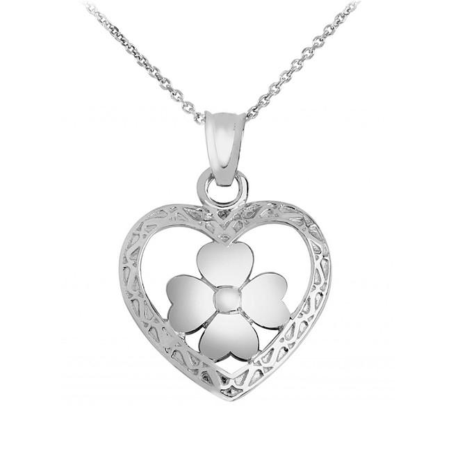 Silver Heart Clover Pendant Necklace