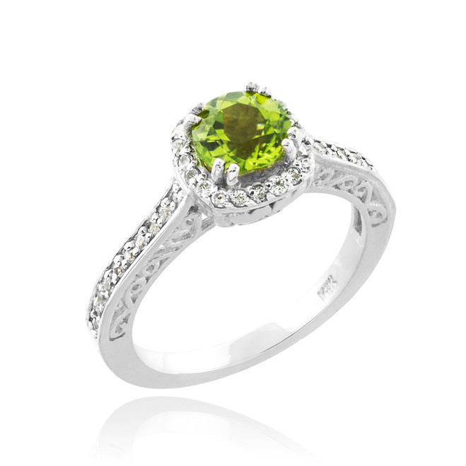 White Gold Peridot Halo Diamond Pave Engagement Ring