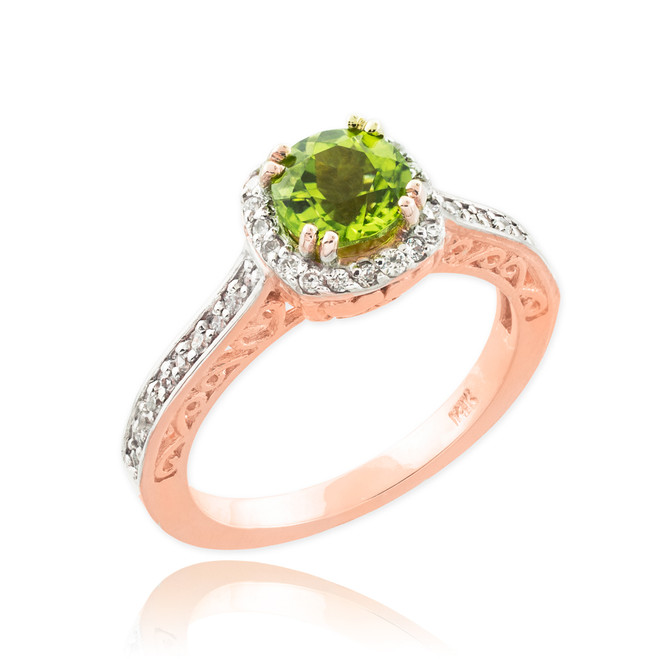 Rose Gold Peridot Halo Diamond Pave Engagement Ring