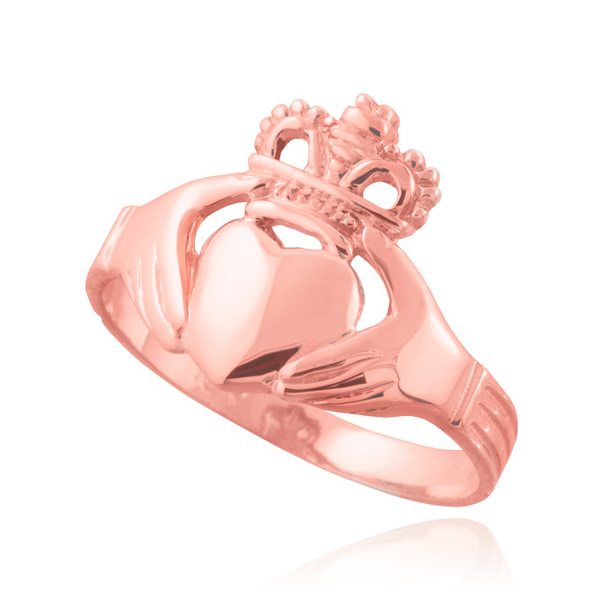 Rose Gold Claddagh Ring Ladies Classic