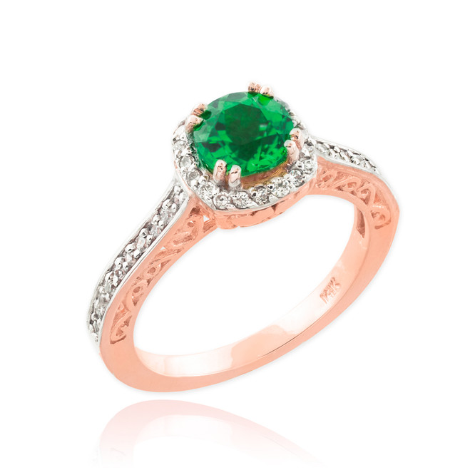 Rose Gold Halo Pave Diamond Emerald Engagement Ring