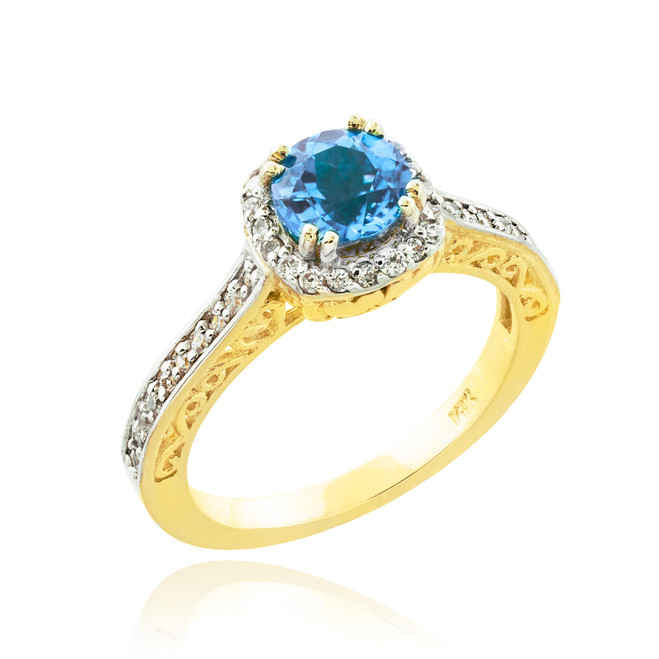 Aquamarine Solitaire Halo Diamond Pave Gold Engagement Ring