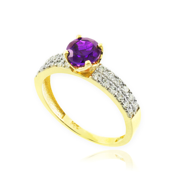 Amethyst Gemstone Gold Diamond Pave Engagement Ring