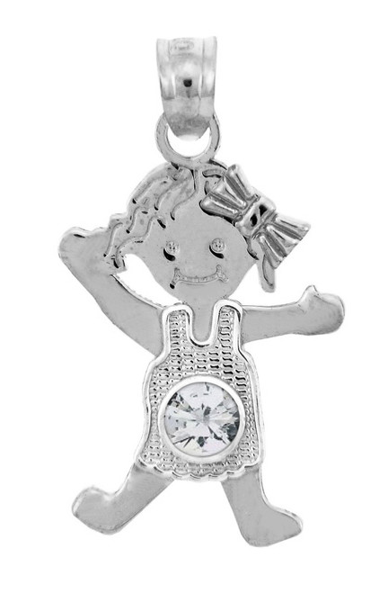 Sterling Silver Baby Girl Birthstone Charm w/ Clear CZ Crystal
