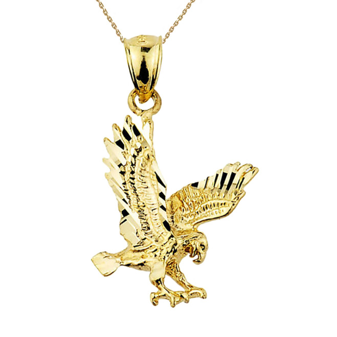 Solid Yellow Gold Diamond Cut Eagle Charm Pendant Necklace
