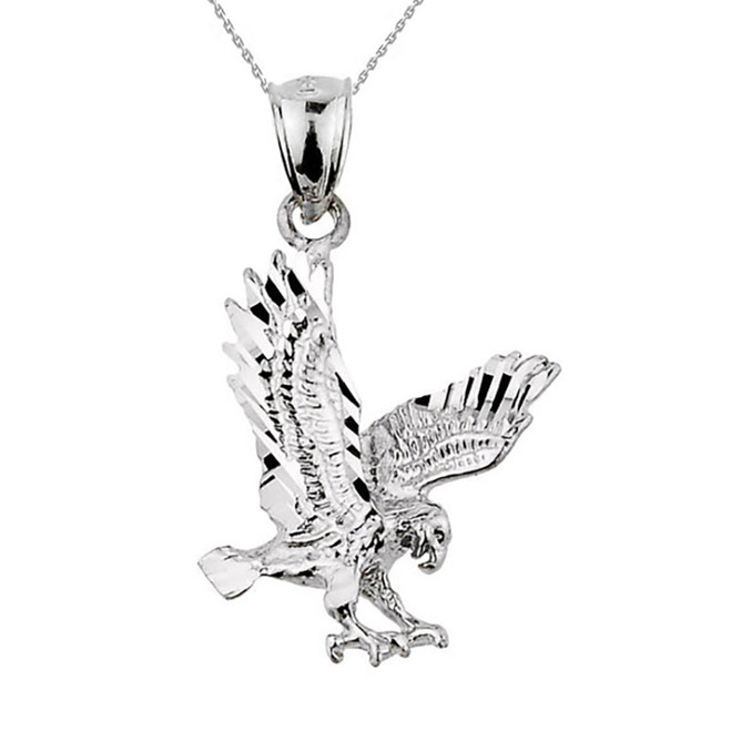 925 Sterling Silver Diamond Cut Eagle Pendant Necklace