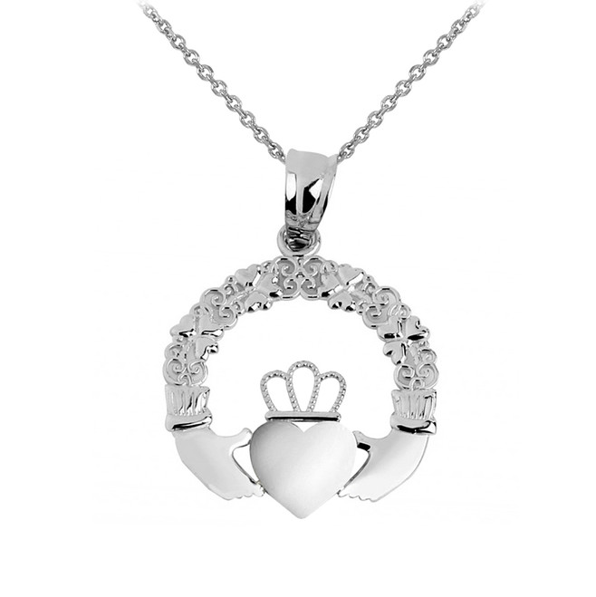 Silver Irish Claddagh Charm Necklace