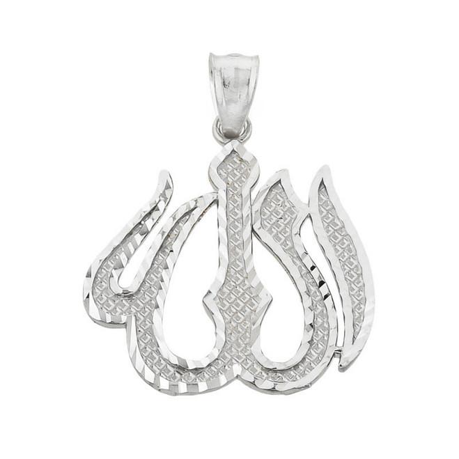 White Gold Diamond Cut Allah Pendant