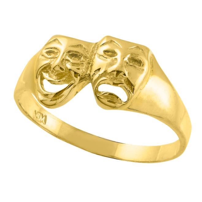 Yellow Gold Drama Mask Ring