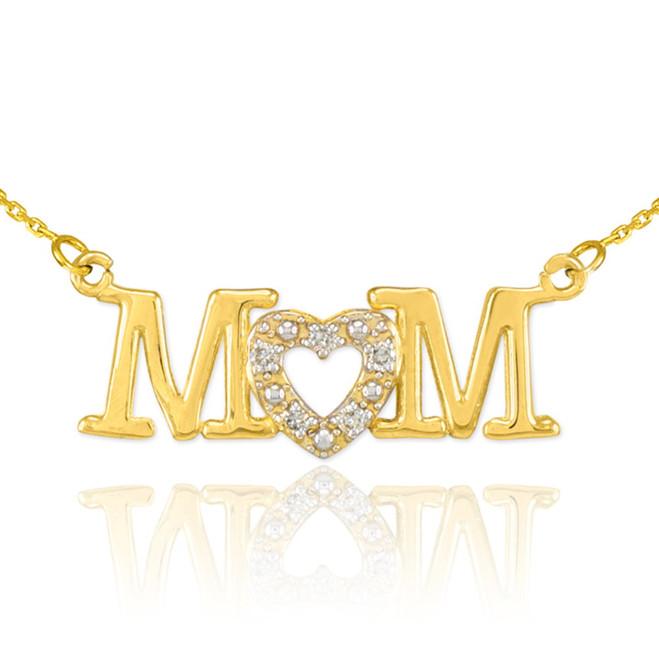 14K Gold MOM Diamond Studded Heart Horizontal Necklace