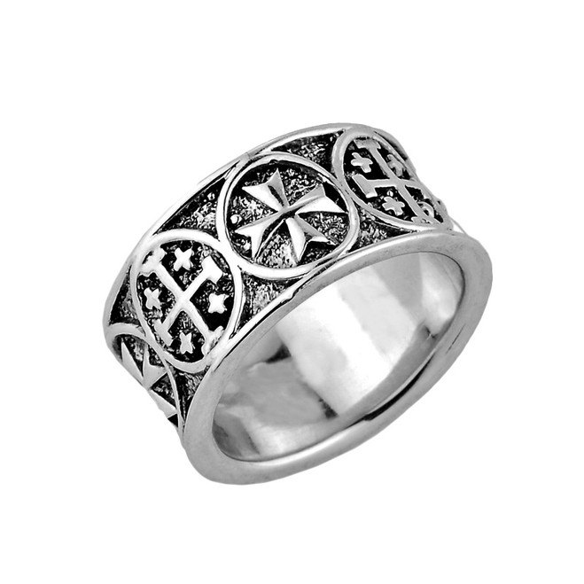 Sterling Silver Jerusalem Cross Band