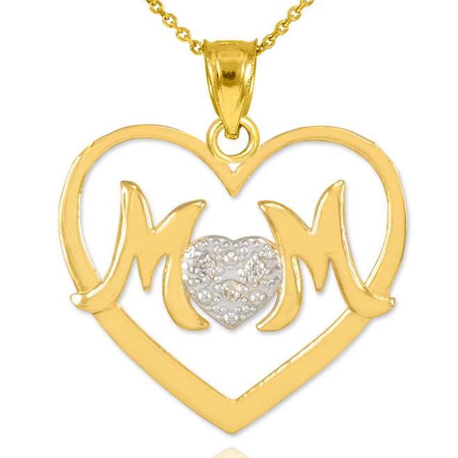 "14K Gold Diamond Pave Heart ""MOM"" Pendant Necklace"