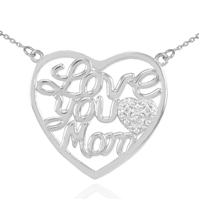 "14K White Gold Diamond Pave Heart ""Love You Mom"" Script Necklace"