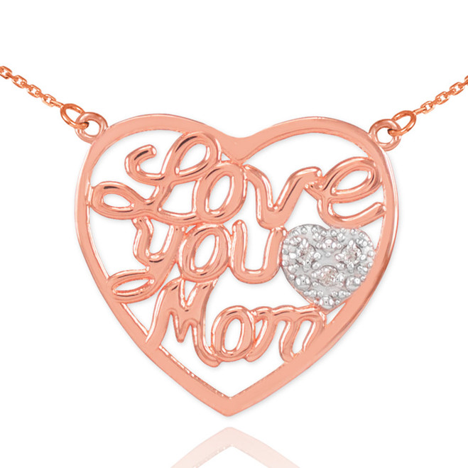 "14K Rose Gold Diamond Pave Heart ""Love You Mom"" Script Necklace"