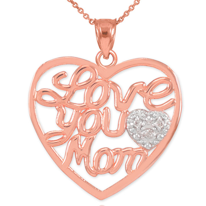 "14K Rose Gold Diamond Pave Heart ""Love You Mom"" Pendant Necklace"