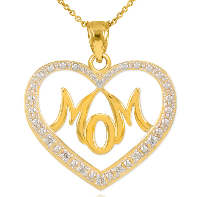 "14K Gold Diamond Studded ""Mom"" Heart Pendant Necklace"
