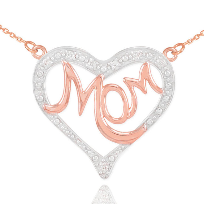"14K Two-Tone Rose Gold Diamond Studded ""Mom"" Heart Necklace"