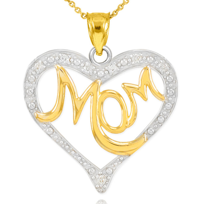 "14K Two-Tone Gold Diamond Studded ""Mom"" Heart Pendant Necklace"