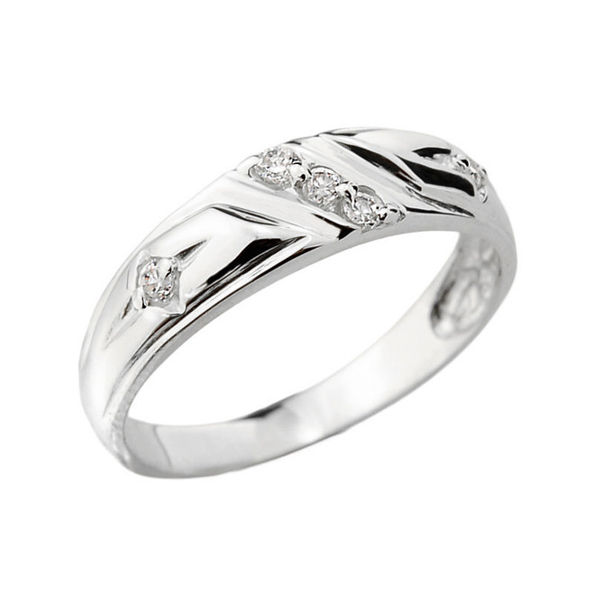 Sterling Silver Ladies Diamond Wedding Ring