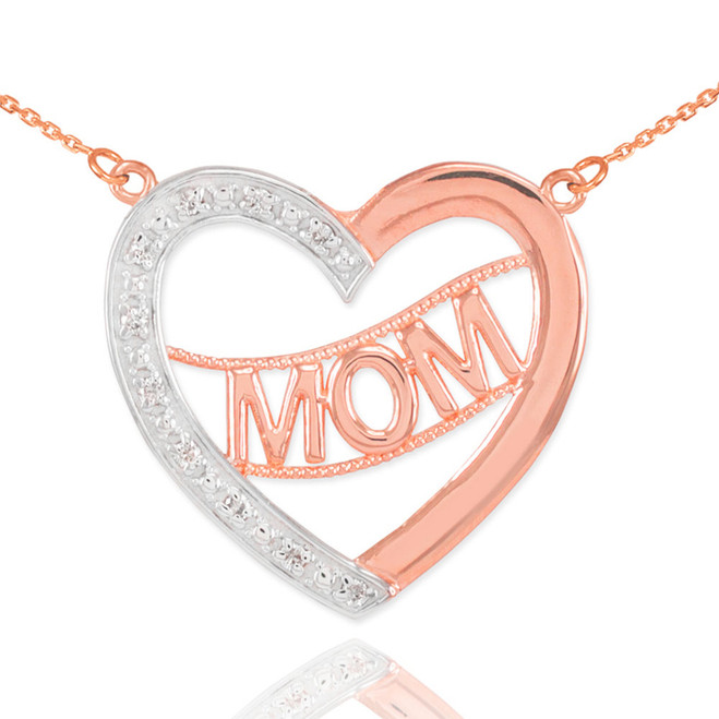 "14K Two-Tone Rose Gold Diamond Half Studded ""Mom"" Heart Necklace"