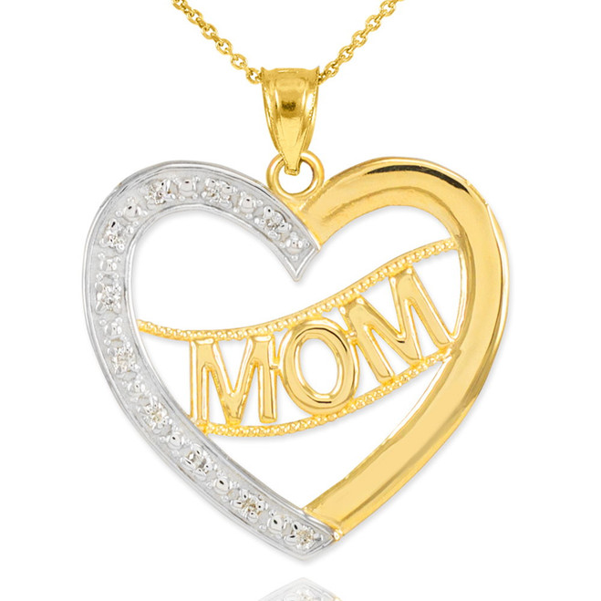 "14K Two-Tone Gold Diamond Half Studded ""Mom"" Heart Pendant Necklace"