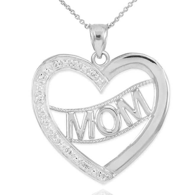 "14K White Gold Diamond Half Studded ""Mom"" Heart Pendant Necklace"