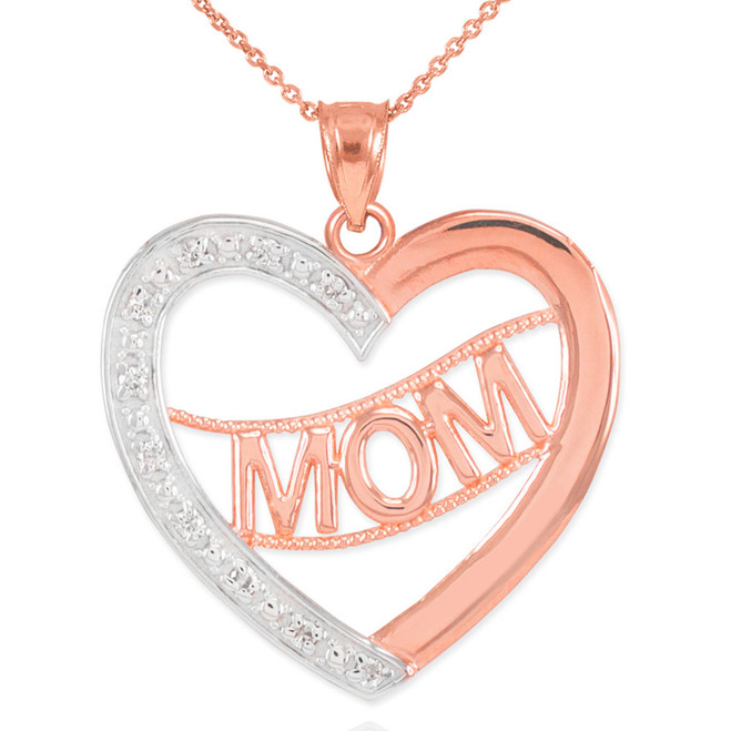 "14K Two-Tone Rose Gold Diamond Half Studded ""Mom"" Heart Pendant Necklace"
