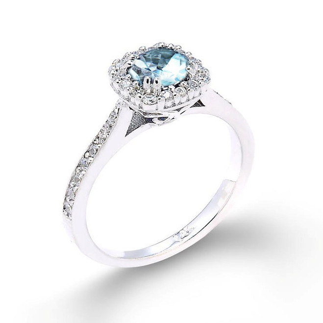 14k White Gold Aquamarine Engagement Ring