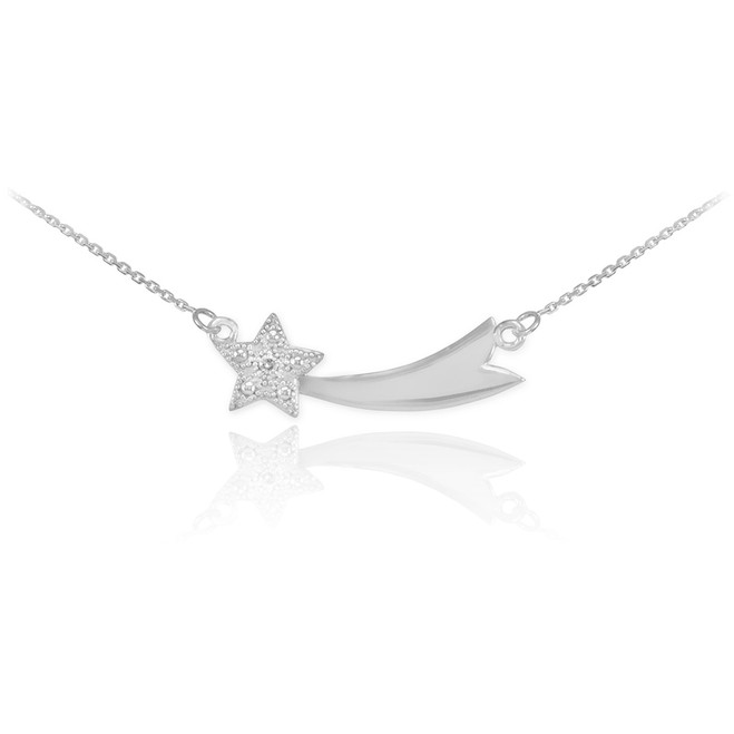 14K White Gold Diamond Studded Shooting Star Necklace
