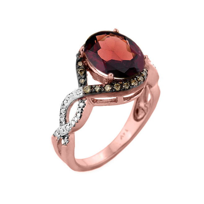 Rose Gold Garnet and Champagne Color Diamond Infinity Engagement Ring